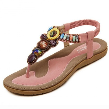 Gypsy Casual Women's Sandal with Colorful Stones Decorated