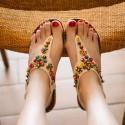 Sandalia Feminina Decorada Casual Colorida Rasteira Elastico