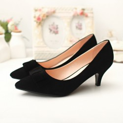 Women's Black Low-Ended Shoe With Fine Peak Social Luxury Elegant