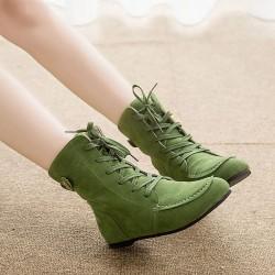 Sapato Bota Feminino Cano Alto Tornozelo Estilo Militar Verde Tênis