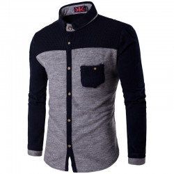 Men's Casual Shirt Long Sleeve Winter Fashion Button Gray
