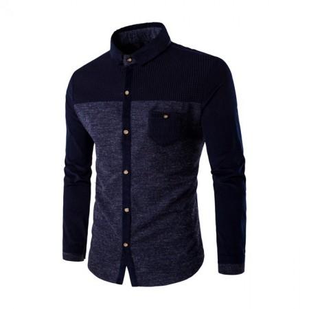 Men's Casual Shirt Long Sleeve Winter Fashion Button Gray
