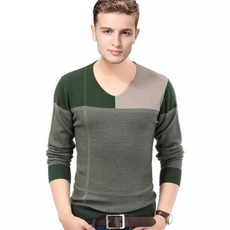 Winter T-Shirt V-Neck Plaid Sweater Men's Long Sleeve
