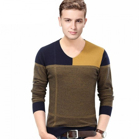 Winter T-Shirt V-Neck Plaid Sweater Men's Long Sleeve