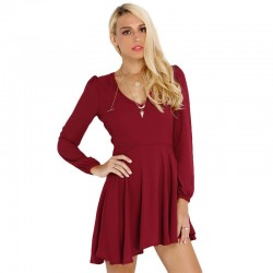 Pleated Dress Wine Casual Short Long Sleeve