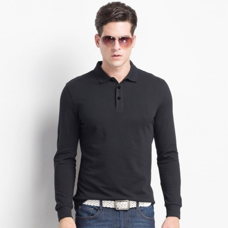 Men's Long Sleeve Basic Polo T-Shirts