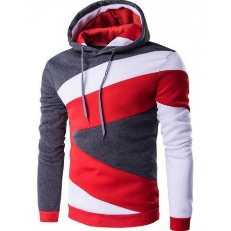 Men's Hooded Sweater & Lace Sweater Fashion Red Winter