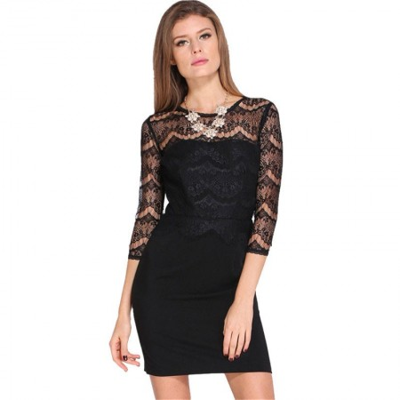 Elegant Dress Income Short Black Casual Long Sleeve