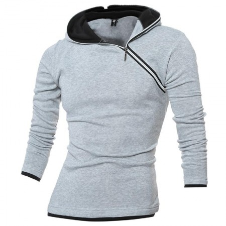 Men's Ziper Hooded Sweatshirt with Asymmetric Cotton Thick Fabric