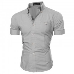 Men's Casual Shirt Casual Short Sleeve Casual Gray