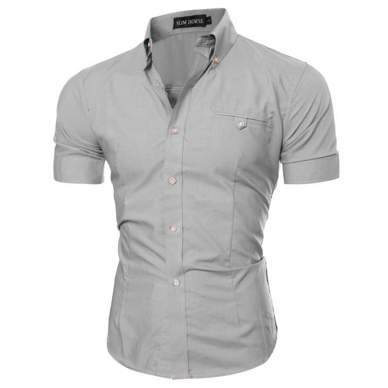 2355556b49 Camisa Social Masculina Manga Curta Cinza de Botões Lisa Casual