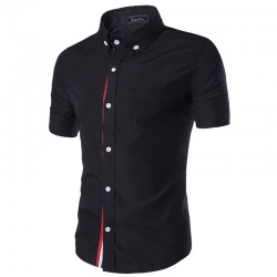 Black Social Shirt Red Line Short Sleeve Men's Casual Button