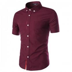 Camisa Social Preta Linha Vermelha Manga Curta Casual Masculina Botão