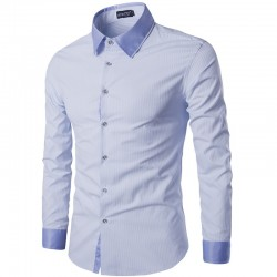 Men's Slim Fit Slim Fit Cotton Long Sleeve Blue