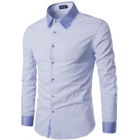 Camisa Social Masculina Lisa Slim Fit Algodão Claro Manga Longa Azul