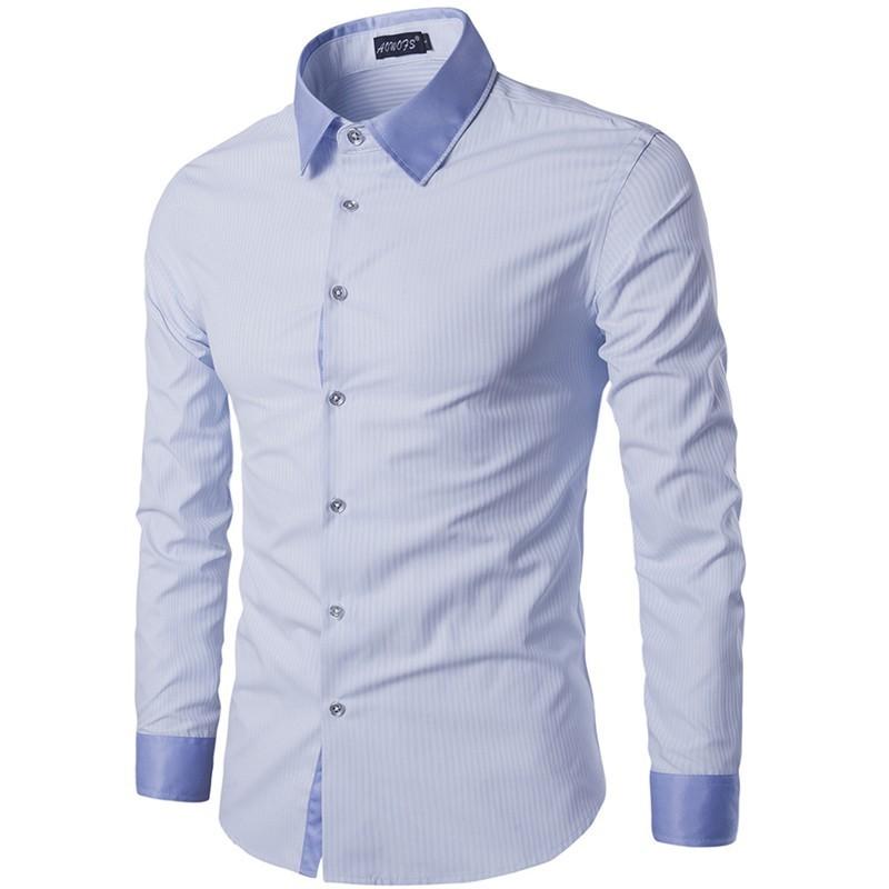 5e2220a7f4 Camisa Social Masculina Lisa Slim Fit Algodão Claro Manga Longa Azul