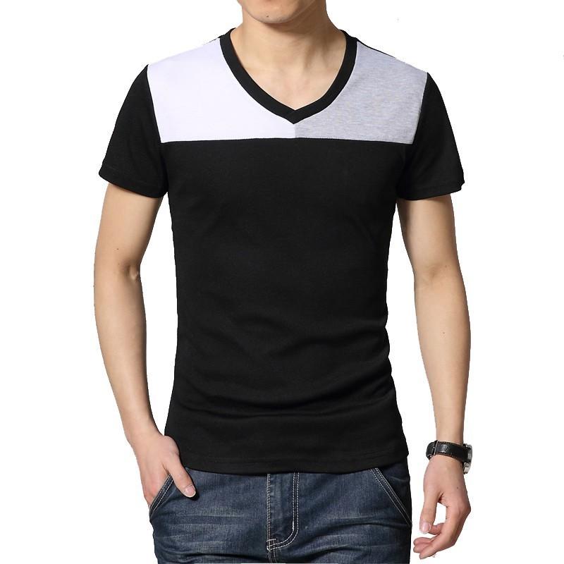 Camiseta Masculina Duas Cores Preta Manga Curta Casual Gola V e2e7d3b9dcadb