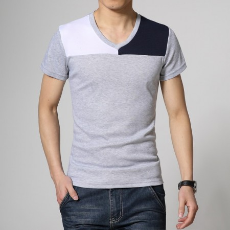 Camiseta Masculina Duas Cores Preta Manga Curta Casual Gola V