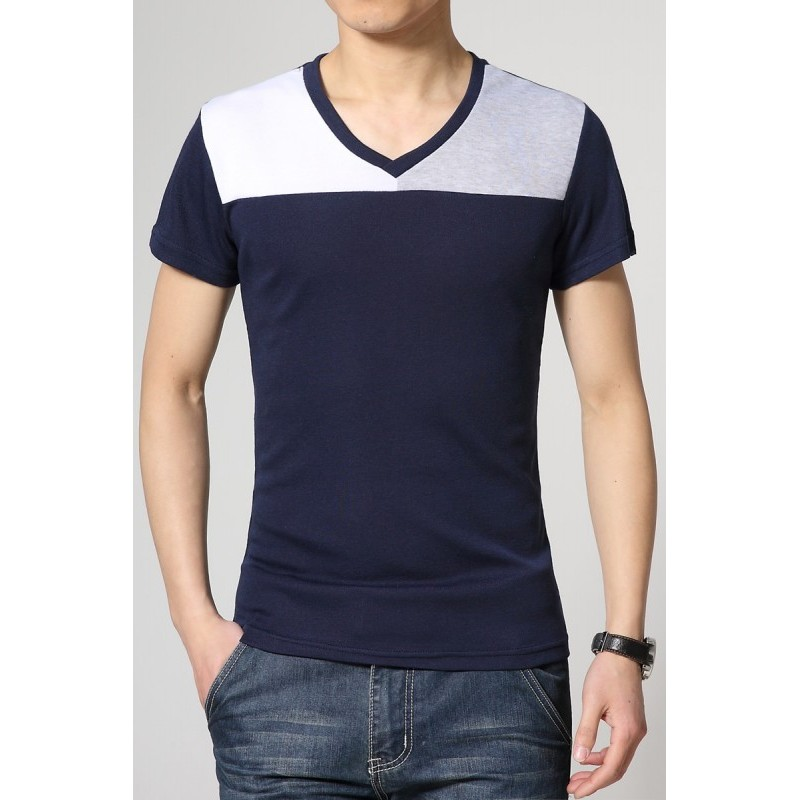 5b5a86c581 Camiseta Masculina Duas Cores Preta Manga Curta Casual Gola V