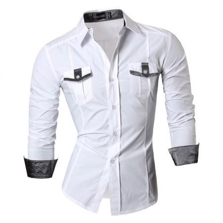 Camisa Jeans Fino Casual Manga Comprida Botão Metalizado Jaqueta Homem