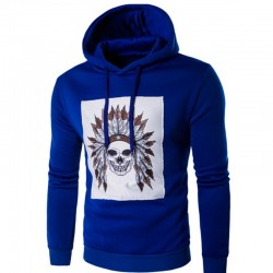 Moletons Masculino Azul Estampado Índio Caveira Casual Frio com Capuz