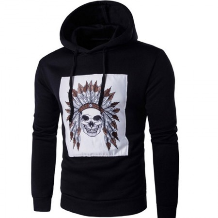 Men's Sweatshirts Blue Print Indian Skull Casual Cold Hooded