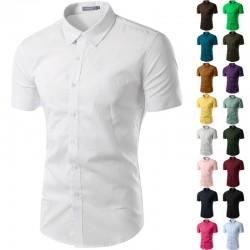 Camisa Social Branca Masculina Casual Manga Curta Estampa Lisa