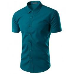 Camisa Social Azul Masculina Casual Manga Curta Varias Cores Estampa Lisa