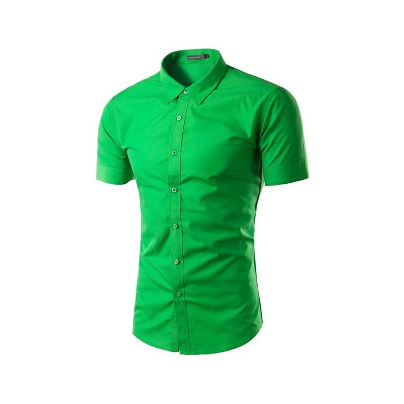 Camisa Social Verde Masculina Casual Manga Curta Varias