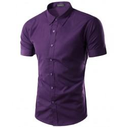 Casual Men's Casual Shirt Casual Short Sleeve Various Colors Plain Print