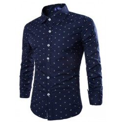 Social Shirt Dark Blue Polka Dot Button Long Sleeve