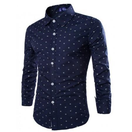Social Shirt Dark Blue Polka Dot Button Long Sleeve