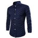 Camisa Social Estampa de Bolinhas Azul Escuro Manga Longa de Botão