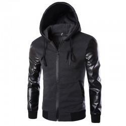 Men's Black Zip Hoodie with Urban Zipper Hood