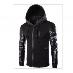 Men's Black Zip Hoodie with Urban Zipper Hood