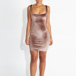 Short Rosa Dress Casual Metallic Velvet Fabric Feast and Ballad