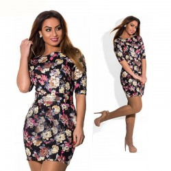 Casual Short Female Dress Black Floral Pattern Rose Fashion Plus Size