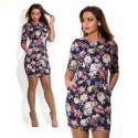 Casual Short Female Dress Black Floral Pattern Rose Fashion Plus Size