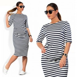 Dress Female Striped Fashion Black and White Beach Casual Plus Size