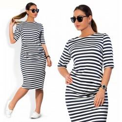 Vestido Feminino Listrado Moda Praia Preto e Branco Casual Plus Size