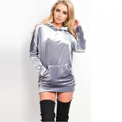 Dress Pullovers Women's Sweatshirt in Velvet Metallic Gray Hooded