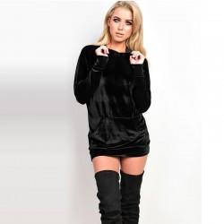 Dress Pullovers Women's Sweatshirt in Velvet Metallic Gray Hooded
