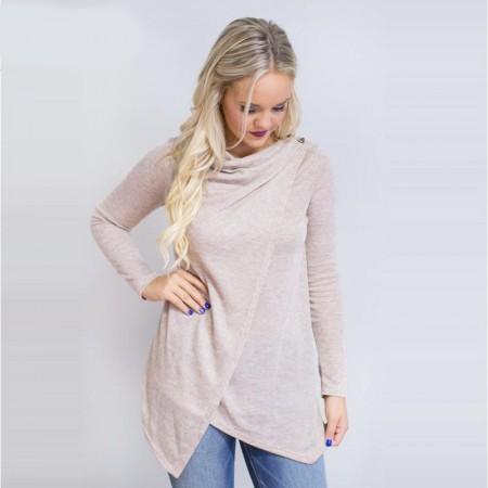 Asymmetric Blouse Long Blend Long Sleeve Casual