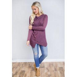 Asymmetric Blouse Long Blend Long Sleeve Casual