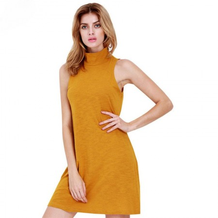 Yellow Dress Casual Summer Short Basic
