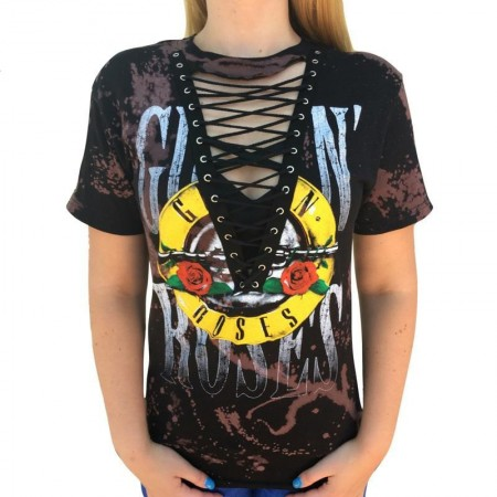 Camiseta Feminina Roqueira Preta GUN N ROSES Festival Música de Rock