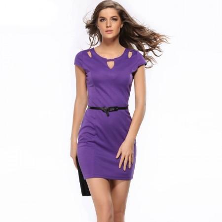 Short Female Dress Purple Leaked Short Sleeve Fine Work Belt
