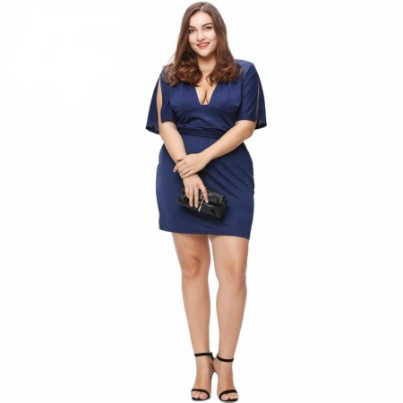 af60aef1f Vestido Azul Royal Social Festa Luxo Feminino Plus Size Elegante Seda