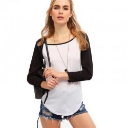 Camiseta Feminina Manga Longa Branca e Preta Estudante Casual Fina
