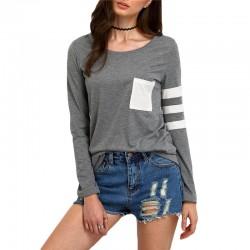 Camiseta Feminina Manga Longa Cinza Casual de Inverno Moda Jovem